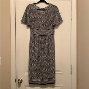 Ankle-Length Black and White Dress